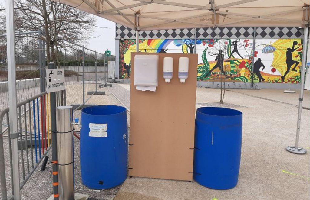 DIY hand sanitizer stations in the Netherlands