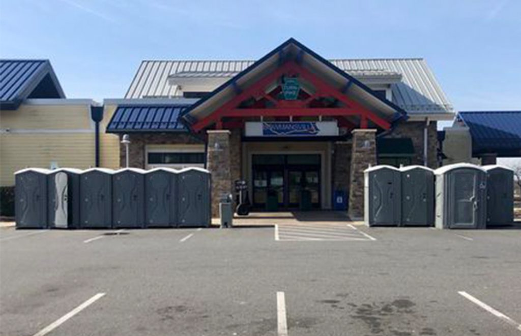 Portable Restrooms at closed highway rest-station for truck drivers