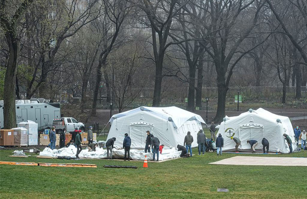 Triage tents and restroom trailers in Central Park, NY